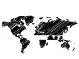 World / Global map sketch in black and white poster