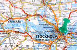 Stockholm in Sweden, Europe. Push pin on an old map.