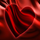 Red satin with integrated heart poster