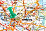 Hamburg, Germany, Europe. Push pin on an old map.