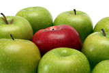separation concepts - red apple between green apples poster