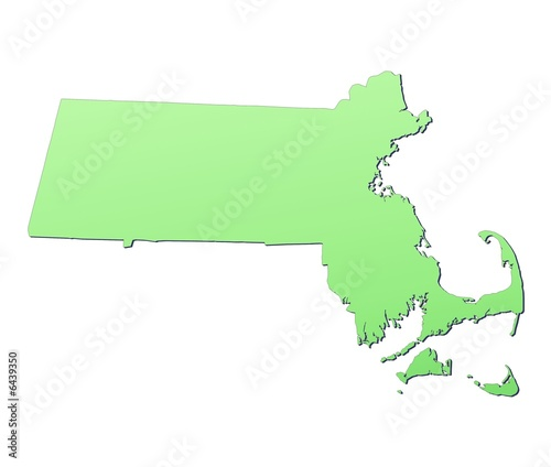 Massachusetts (USA) map filled with light green gradient