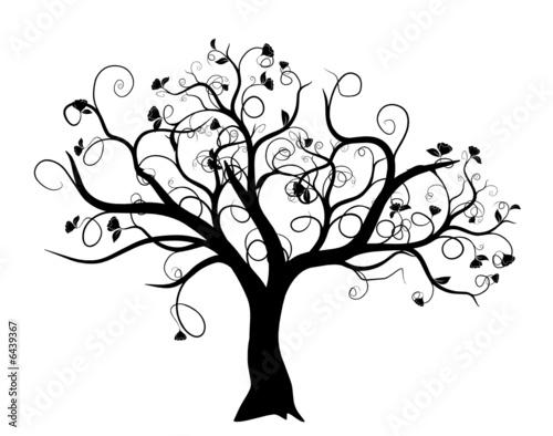 Vecteur : vecteur série - arbre vectoriel noir sur fond blanc