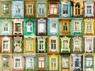 32 multicolored tradition windows from russian town Rostov.