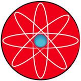 molecular atom symbol or button  poster