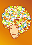 Afro style with circles. Vector art poster