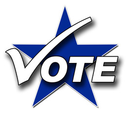 A Voting illustration in blue and white