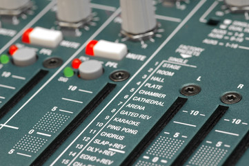 mixing soundboard reverb settings close-up