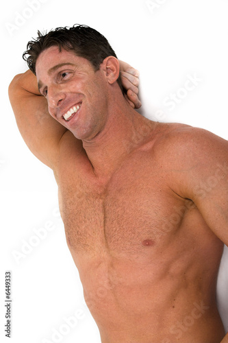 Muscular Naked Man On Wall