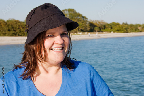 Portrait of a beautiful plus-sized model on vacation