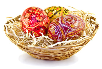 Three easter eggs in the basket