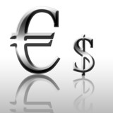 Euro versus dollar on a white background poster