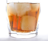 Cold beverage with ice cubes poster