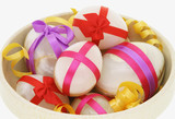Egg shaped semiprecious gemstones decorated for Easter  poster