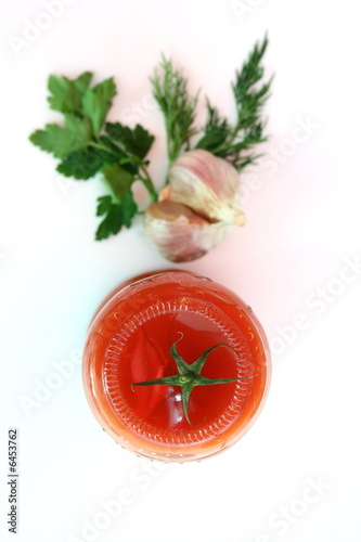 Poster Tomato with green Isolated in White Background