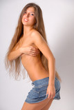 topless girl with long hair in skirt poster