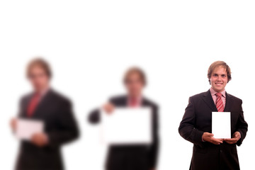 man with white board (focus on the right)