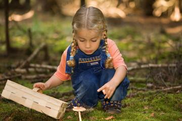ein kleines mädchen mit einem korb beim pilze sammeln