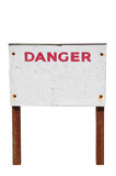 Old weathered Danger sign with peeling paint and rusty legs poster