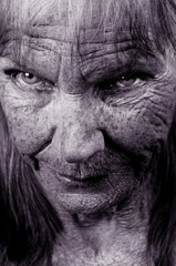 Striking Image of an Elderly lady with depression