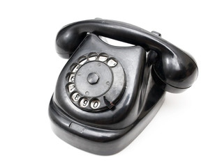 Black retro telephone. Isolated on white.