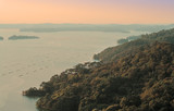 Matsushima (Japan) sunset landscape in a misty evening. poster