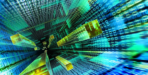 Data stream flowing in Cyberspace