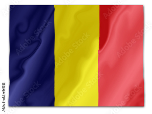 Fluttering image of the Romanian national flag.