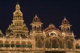 Mysore Palace Illuminated by Thousands of Light Bulbs poster