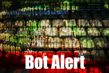 Bot Alert Warning Message on abstract technology background poster