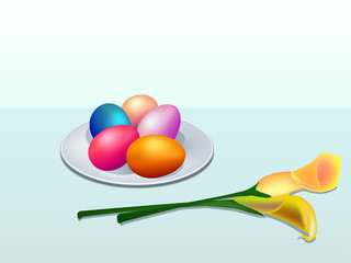 Illustration of Easter eggs and calla lily