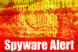 Spyware Alert Warning Message on abstract technology background poster