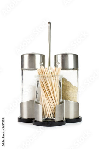 Salt, pepper and toothpicks. Isolated on white