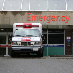 ambuance at emergency room entrance