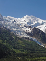 Mont Blanc and Les Bossons Glacier, springtime, Chamonix