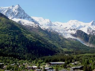 Mont Blanc Massif mountain range high above Chamonix