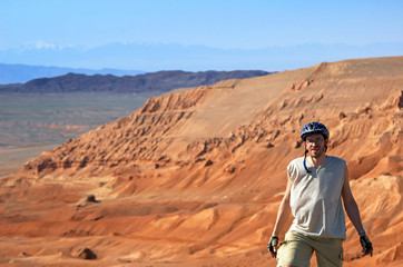 Mountain biker on red canyon