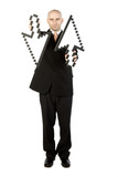 Businessman holding arrows