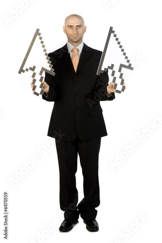 Man with Arrows pointing Up