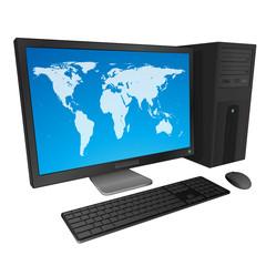 Ordinateur de bureau noir avec planisphère