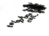 The word telephone call spelled out in black letters poster