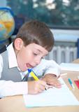The boy draws felt-tip pens poster