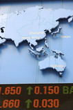 Stock price rising, with pacific region in map poster