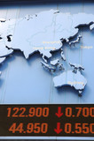 Stock price dropping, with pacific region in map poster
