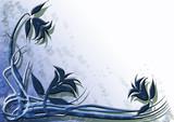sfondo deco floreale blu poster