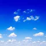 Beautiful white fluffy clouds in the blue sky. poster