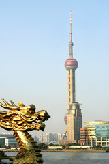 View of Pudong and Chinese Dragon, Shanghai, China