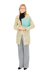 tall business cheerful businesswoman with office papers