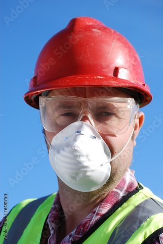 Builder in Hard Hat, Safety Glasses & Mask