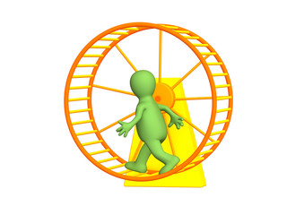 The 3d person - puppet, running inside a wheel